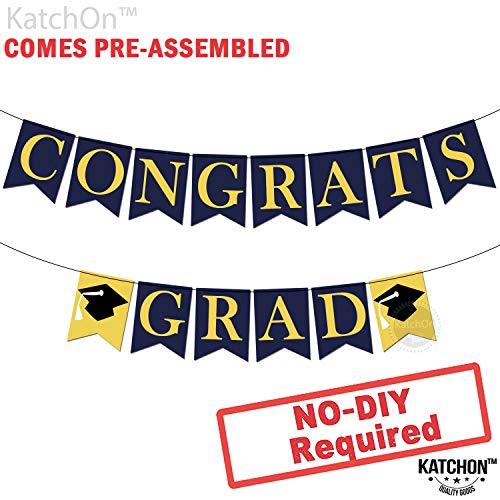 Congrats Grad Graduation Banner - Assembled - Graduation Party Supplies 2019 | Graduation Decoration Blue Yellow Gold Banner Sign for Mantle, Congratulations Grad Party Décor | N0 DIY, Felt Banner