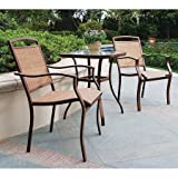 Three Piece Outdoor Bistro Set, Adorns Your Patio or Garden with its Contemporary Design, Includes Two Bistro Sling Chairs and a Table with Tempered Glass Top, Tan + Expert Guide