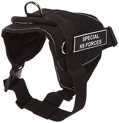 Dean & Tyler Fun Works Special-Ops K9 Harness with Padded Chest Piece, Medium, Fits Girth Size: 28-Inch to 34-Inch, Black with Reflective Trim ()
