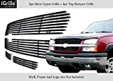 2003 silverado black emblem - Fits 03-05 Chevy Silverado 1500/03-04 2500 Stainless Black Billet Grille Grill Combo #C67675J