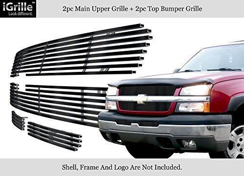 Fits 03-05 Chevy Silverado 1500/03-04 2500 Stainless Black Billet Grille Grill Combo #C67675J