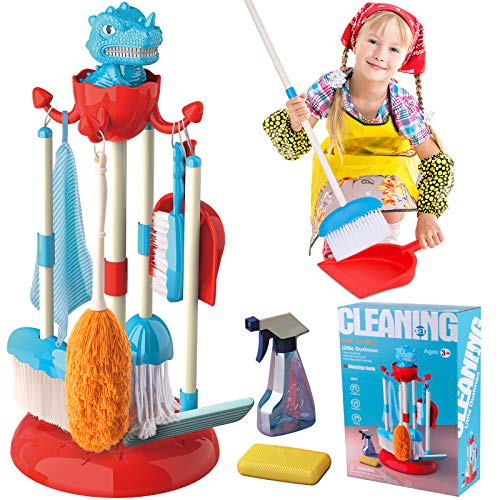GINMIC Detachable Kids Cleaning Toy Set, Pretend Play Household Cleaning Tools – Includes Broom, Mop, Duster, Brush…