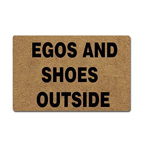 - Artsbaba Welcome Mat Egos and Shoes Outside Door Mat Rubber Non-Slip Entrance Rug Floor Mat Balcony Mat Funny Home Decor Indoor Doormat 23.6 x 15.7 Inches, 3/16