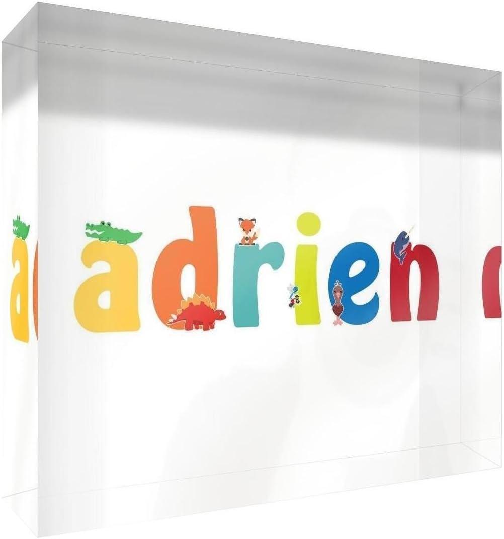Little Helper Souvenir D/écoratif en Acrylique Transparent Poli comme Diamant Style Illustratif Color/é avec le Nom de Jeune Gar/çon Adrien 5 x 15 x 2 cm Petit