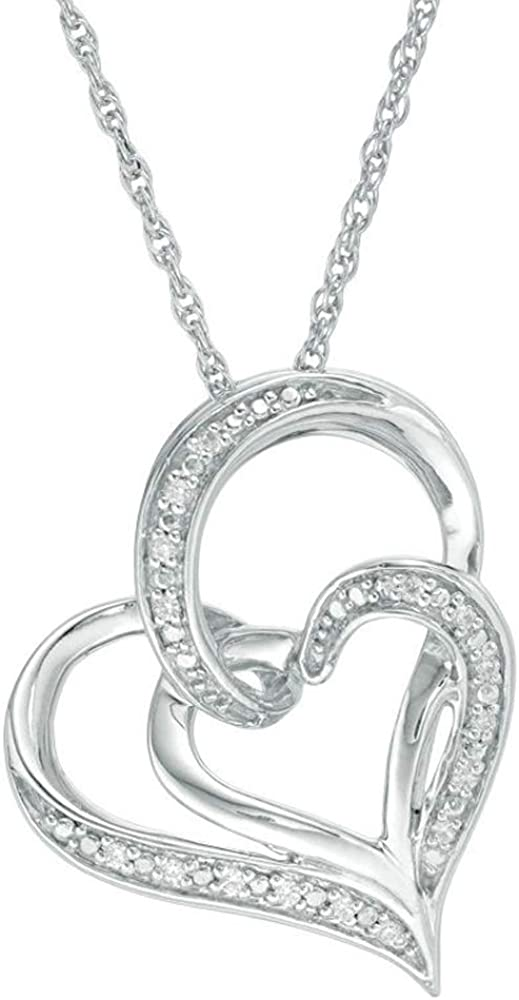 HN Jewels 0.05 Cts Sim Diamond Double Heart Pendant W//18 Chain 14K White Gold Plated 925