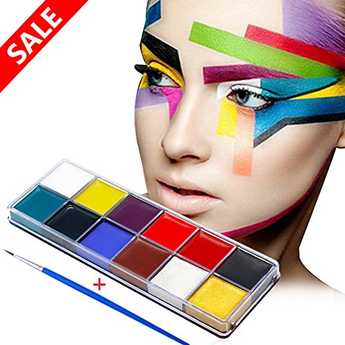 Face Paint Kit, 12 Colors Halloween Makeup, Easy on & Easy Off, Non-Toxic Paint, Vibrant Colors, Versatile Brushes, Best Face Painting Party Kits and Cosplay Body Paint Set, Perfect For Kids, Party (Easy Halloween Paintings)