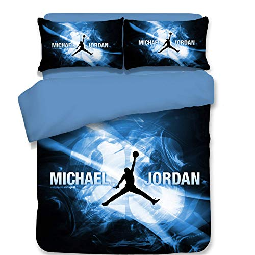NOOS 3D Sports Basketball Duvet Cover Set 23 Basketball Star Basketball Bedding Set Students Teenagers 100% Polyester Boys Bed Set 3PC 1 Duvet Cover 2 Pillow Shams Twin Full Queen King (Jordan Bedding)