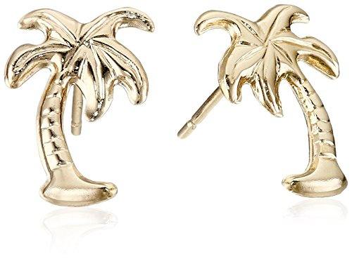 14k Yellow Gold Palm Tree Stud Earrings 14k Yellow Gold Palm Tree