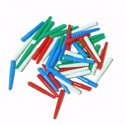 WE Games 48 Standard Plastic Cribbage Pegs w/ a Tapered Design in 4 Colors - Red, Blue, Green & White
