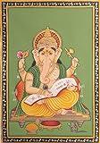 Exotic India Lord Ganesha Scripting the Mahabharata Water Color Painting