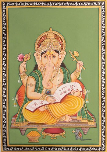 Exotic India Lord Ganesha Scripting the Mahabharata Water Color Painting