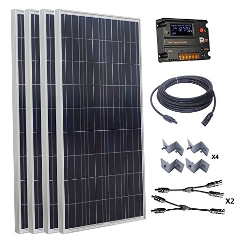 ECO-WORTHY 600W 24V Polycrystalline Solar Panel Kit: 4pcs 160W Poly Solar Panels+Auto Switch LCD Intelligent Regulator Charge Controller+MC4 Solar Cable+Y MC4 Connectors+Solar Panel Mounting Brackets ECO-WORTHY Solar Power And Accessories