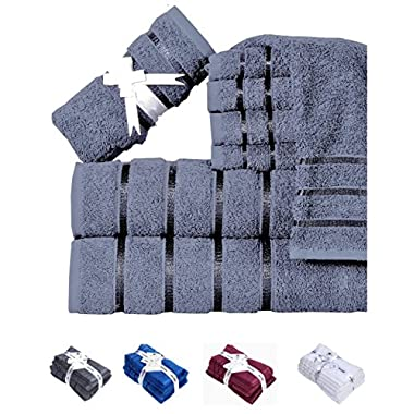 600 GSM 8-Piece 100% Long-Staple Cotton Bath Towel Set (GREY); 2 Bath Towels, 2 Hand Towels, 4 Washcloths, Ultra soft ,Spa Hotel Quality, Super Absorbent, Machine Washable by HILLFAIR