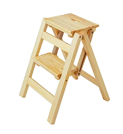 Taburete de Paso Escaleras Plegables Taburete Plegable de Madera para Adultos Cocina para niños Escaleras pequeñas