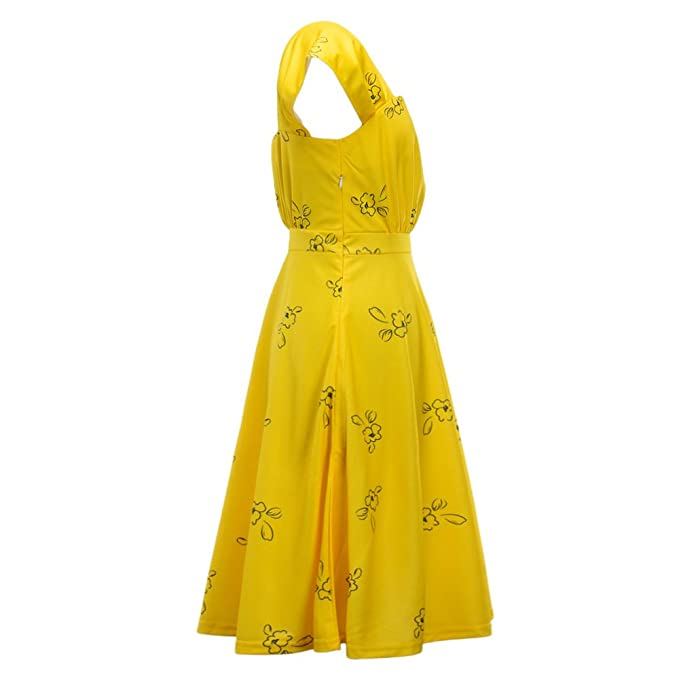 2c91512a0aac Meelanz Women's Fashion Floral Sleeveless Simple Waisted Causal Summer  Party Yellow Dress at Amazon Women's Clothing store: