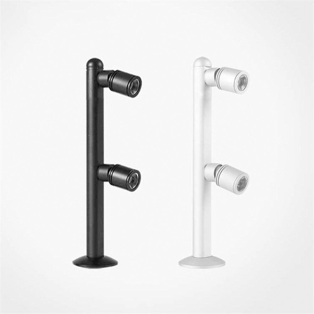 Zehui LED High Foot Cabinet Desk Lamp 2W 3W Jewelry Display Showcase LED Upright Pole Light Shop Desk Make-up Spot Lamp Warm White 2W Silver 200mm