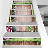 Stair Stickers Wall Stickers,6 PCS Self-adhesive,Meditation,Spa Frame with Spiritual Stones Bamboo Stems Orchid Petals Yoga Zen Philosophy,Multicolor,Stair Riser Decal for Living Room, Hall, Kids Room