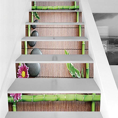 Stair Stickers Wall Stickers,6 PCS Self-adhesive,Meditation,Spa Frame with Spiritual Stones Bamboo Stems Orchid Petals Yoga Zen Philosophy,Multicolor,Stair Riser Decal for Living Room, Hall, Kids Room by iPrint