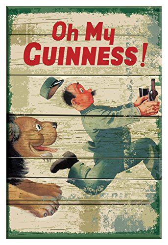 Nostalgic Guinness Wooden Sign with Zoo keeper & Lion & Oh My Goodness Text -