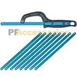 12'' inch Light Duty Close Quarter Hacksaw Black + 8 pcs Replacement Blades Set