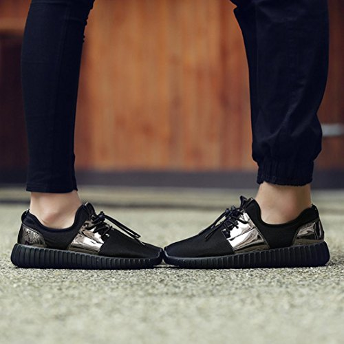 HLHN Unisex Running Shoes,Women Men Gym Patchwork Lace-up Cross Strap Sport Mesh Round Toe Breathable Casual Fashion Black