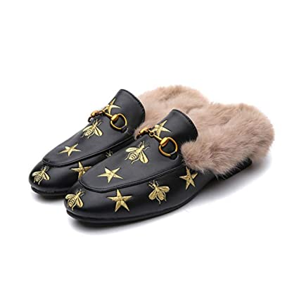 e007cc8b430 Amazon.com  FAY WATERS Women s Fur Slippers Fashion Warm Casual Outdoor  Flat Mules Slides  Home   Kitchen