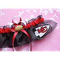Customizable - KC Kansas City Chiefs red white gold print duck fabric handmade bridal prom black organza wedding keepsake garter with football charm