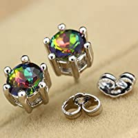 Princess Silver Clear Round Rainbow Topaz Gemstone Ear Studs Earrings Jewelry ERAWAN