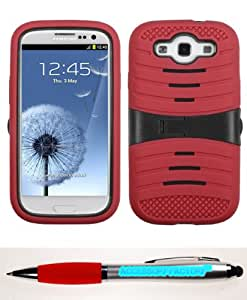Accessory Factory(TM) Bundle (Phone Case, 2in1 Stylus Point Pen) SAMSUNG Galaxy S III (i747 L710 T999 i535 R530 i9300) Black Red Wave Symbiosis Protector Cover (with Horizontal Stand)