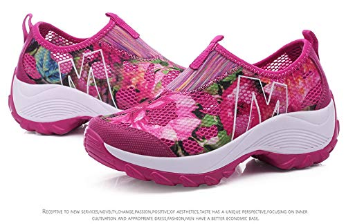 Qiusa Zapatos con Estampado de Flores para Mujer Zapatillas de Deporte con Plataforma Rocker con Plataforma Transpirable (Color : Rosado, tamaño : EU 39) Rojo