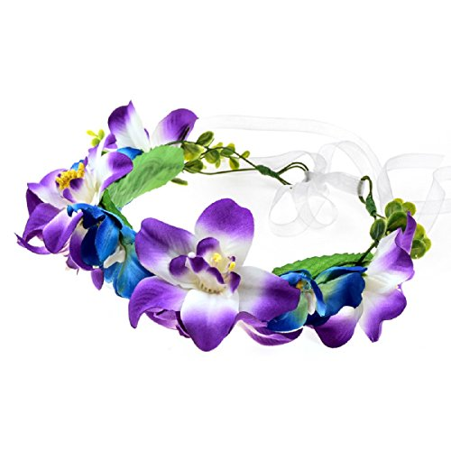 Love Sweety Lily Flower Crown with Adjustable Ribbon for Wedding HH9 (1# Mix Purple) by Love Sweety (Image #1)