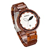 womens big dial watches - BEWELL Wood Watch for Women Analog Quartz Red Sandal Wooden Big Dial Flower Wrist Watches