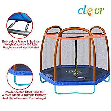 Clevr 7ft Kids Trampoline and Safety Enclosure Net Spring Pad, 7-Foot Outdoor Round Bounce Jumper 84 Indoor Outdoor, Built-in Zipper Heavy Duty Frame Great Birthday Gift