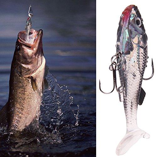 LUCKYAZ 2PCS Silicone Soft Lures Fishing Baits Bass Trout Shad Crankbait Life-like Swimming Swimbait