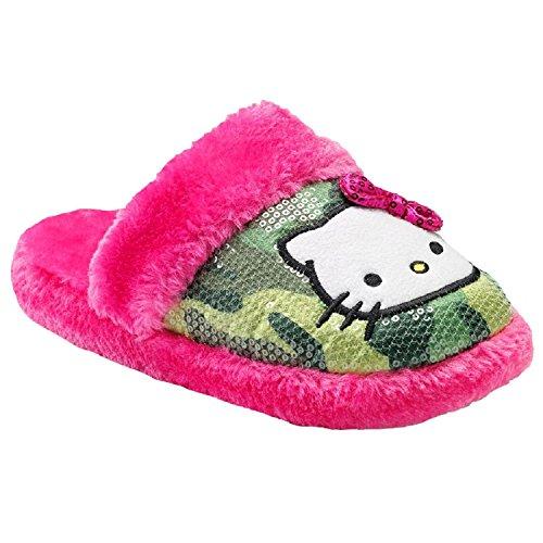 Sequin Plush Cozy 7 8 amp; Kitty Fur Green Hello Slippers Warm Faux Camo Womens Pink Medium qa4xfdqtw