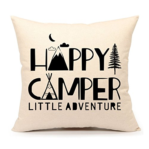 4th emotion happy camper throw pillow case cushion cover cotton linen 18 x 18 inch