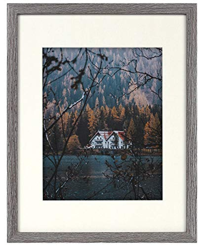 Frametory, Frame with Ivory Mat for Photo - Smooth Wood Grain Finish - Sawtooth Hangers, Real Glass - Landscape/Portrait, Wall Display (Grey, 11x14 Frame for 8x10 Photo) - BRAND NEW: Frame with Ivory Mat FIT FOR: Pictures/Photos (with Mat) or Photos/Pictures (without Mat) PACKAGE INCLUDES: Design Frame, Ivory Mat for Picture - picture-frames, bedroom-decor, bedroom - 51J6PXuHZUL -
