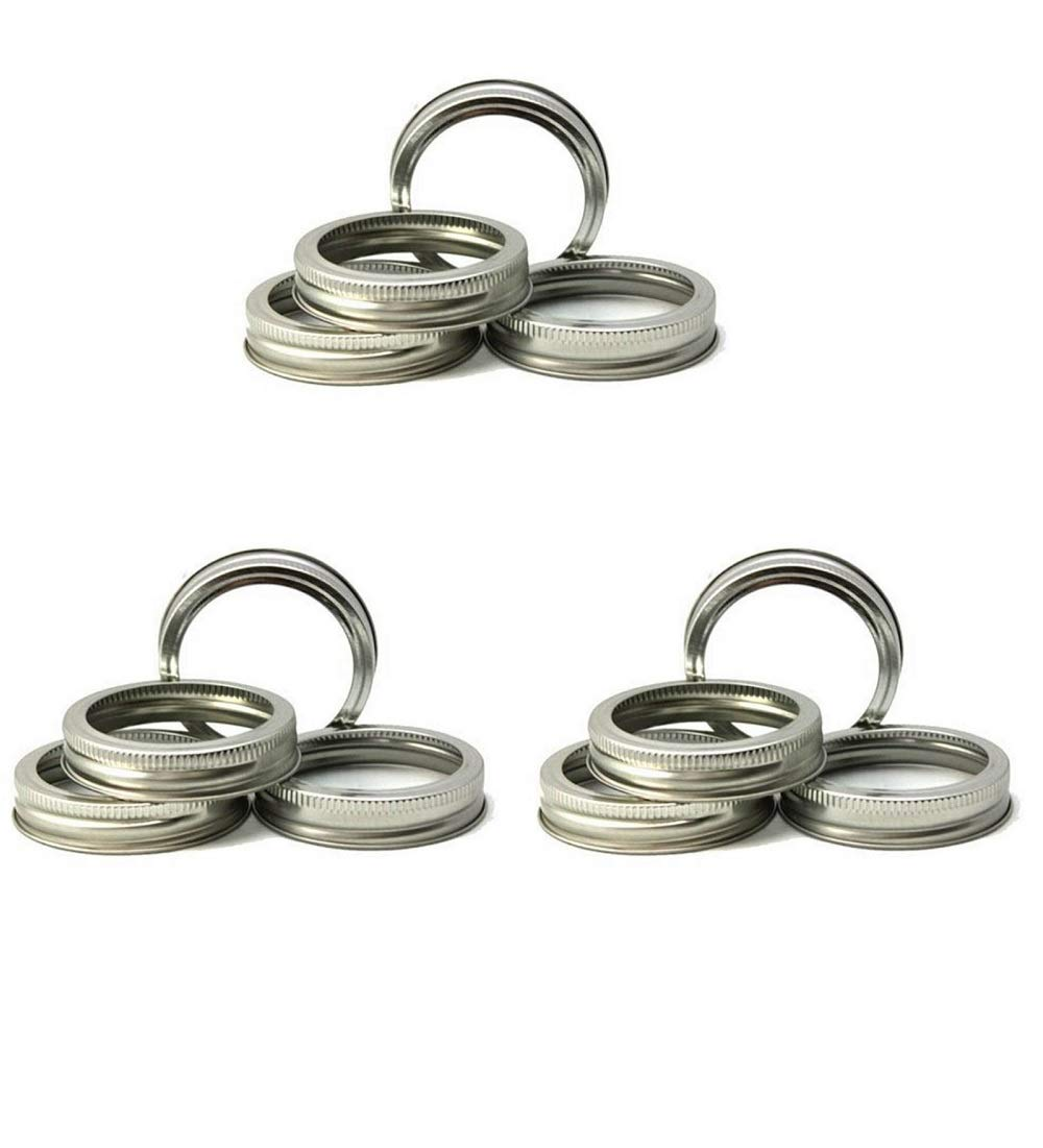 12 Regular Mouth Replacement Rings or Tops Durable & Rustproof Tinplate Metal Bands/Rings for Mason Jar, Ball Jar, Canning Jars,Storage