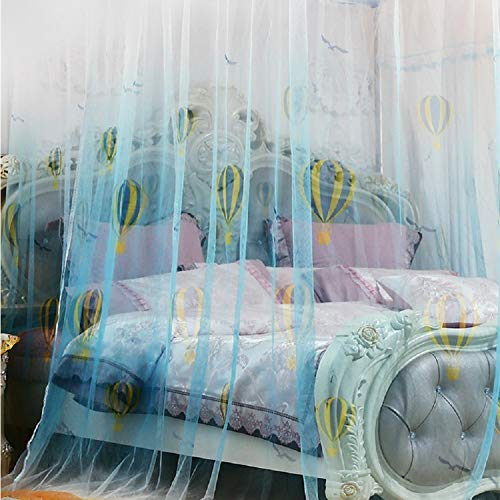 KE & LE Princess Style Mesh Canopy Curtains with Bottom, Hanging Mosquito Net Universal Size Crib Mosquito Net for Girls Kids Toddlers Crib Tent Mesh Canopy Curtains with Bottom-b Queen2 by KE & LE (Image #2)