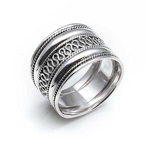 Silverly Women's Men's .925 Sterling Silver Rope Scroll Work Bali Thick 15.3mm Thumb Ring, Size: US (Bali Scroll Ring)