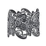 Lux Accessories Burish Silvertone Lace filigree Casted Stretch Boho Bracelet