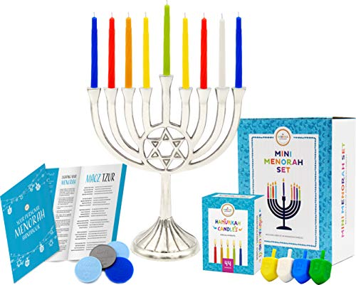 Mini Menorah Set With Traditional Star of David 44 Candles 4 Plastic Multicolored Dreidels Hanukkah Play Coins, Hanukkah Booklet, Hanukkah Instruction Game Card