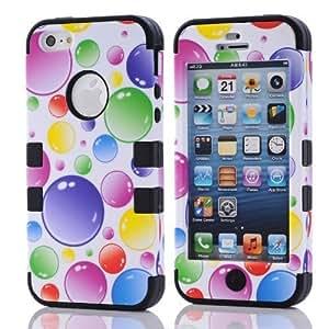 SUPWISER-5SDZH06 Flower Design Hybrid Defender Case For Iphone 5/5S Blue