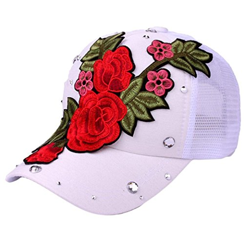 Vertily Hat Summer Mesh Flower Printed Rhinestone Unisex Adjutable Baseball Cap (White) (Marathon Unisex One Top Pocket)
