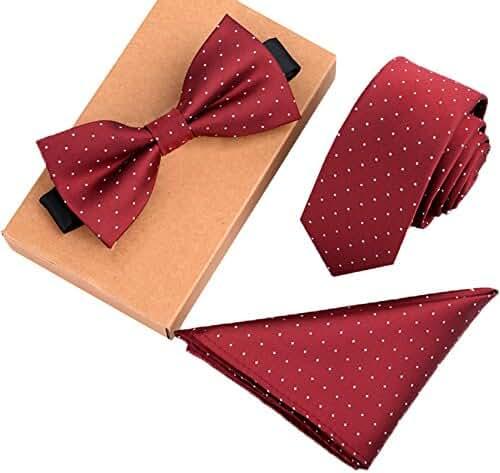 Ysiop Mens Polyester Skinny Neck ties Bowtie Pocket Square 3pcs Set