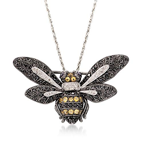 Ross-Simons Black Spinel and .63 ct. t.w. Multi-Stone Bee Pin Pendant Necklace in Sterling Silver