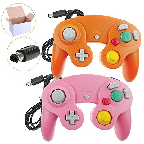 Poulep 2 Pack Classic Wired Gamepad Joystick Controllers Wii Game Cube Gamecube (Pink Orage)