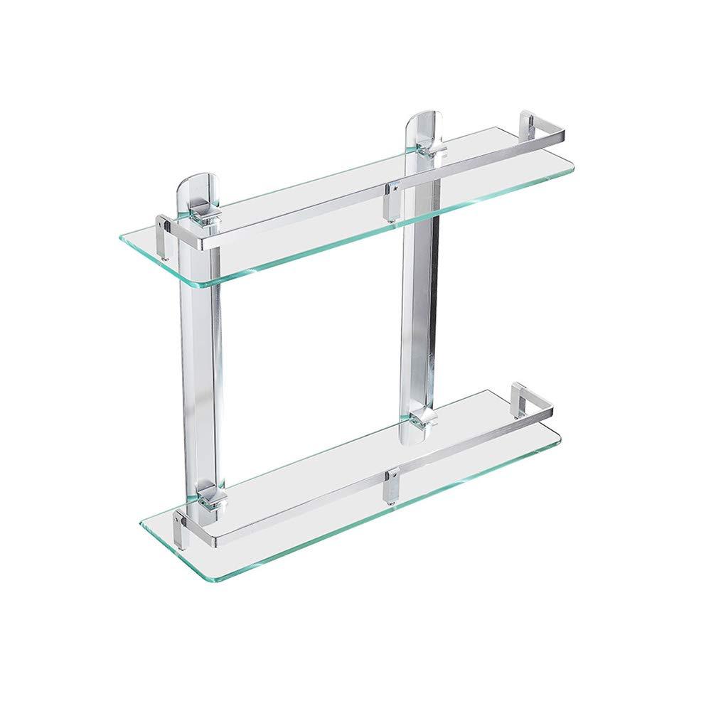 XSJJ 二重強化ガラス棚、バスルームの棚、スペースアルミコンロッド付きパンチフリーウォールマウントミラーフロントフレーム40 Cm 浴室のガラス棚 B07PQTNGVR