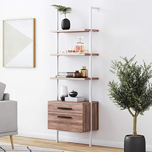 Nathan James 65802 Theo Industrial Bookshelf with Wood Drawers and Matte Steel Frame, Rustic Oak White