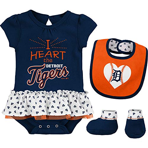 Outerstuff MLB Newborn & Infants Girls Baseball Girl Creeper, Bib, Bootie Set (12 Months, Detroit Tigers)